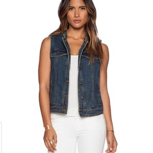 Free People Ripped Laced Up Jean Vest in Indigo